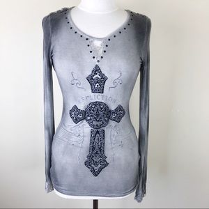 Affliction Grey Lace Long Sleeve Cross Top Tee Sm